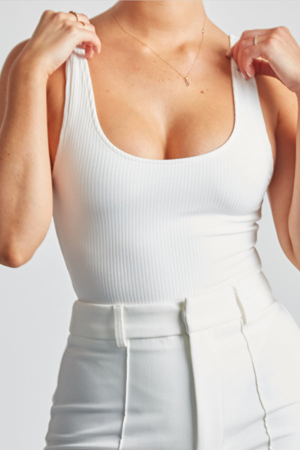 Ribbed Bodysuit - White