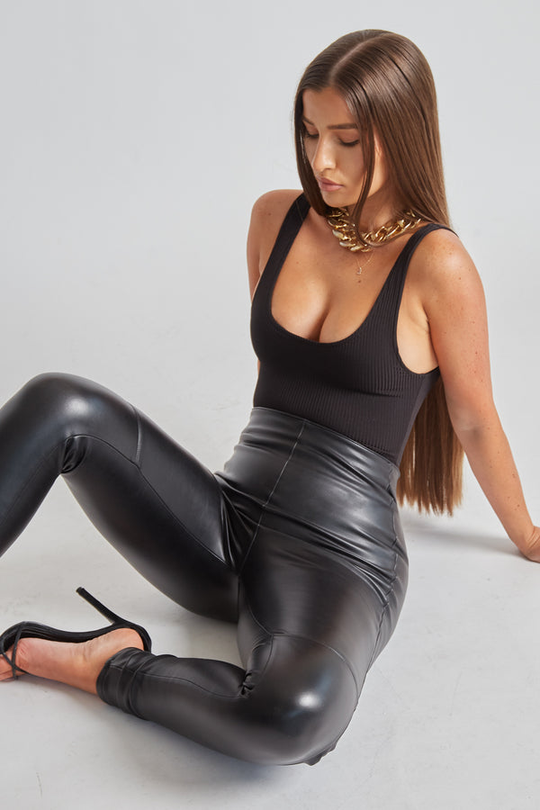 High Waisted Leather Leggings - Black