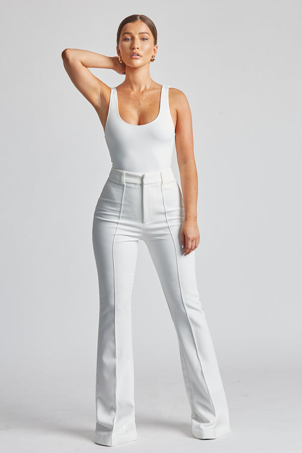 Wide Leg Suit Trousers - White
