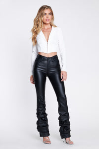 Carmin black Leather Scrunch Flare pants