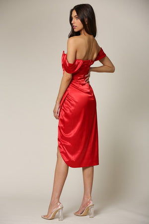 Off Sholder Corest Red Dress