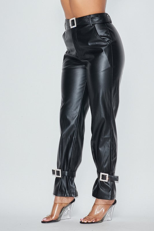 Bella Faux Leather Rhinestone Pants