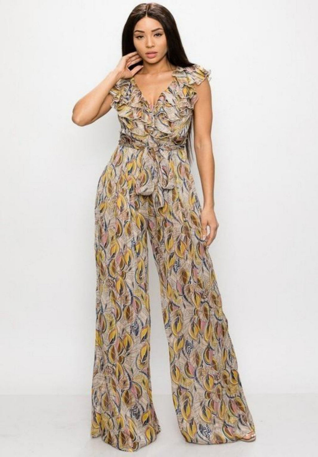 Alexa Multi-Colored Printed Sleeveless Jumpsuit