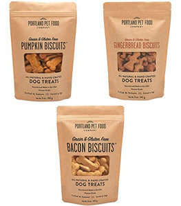 Portland Pet Food Company All-Natural Grain-Free Variety Bacon, Gingerbread & Pumpkin Dog Treat Biscuits 3-Pack