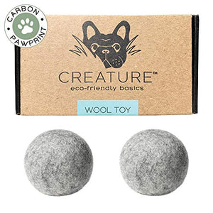Eco-Friendly 100% All Natural Wool (Set of 2) Dog Toy Balls - Handmade