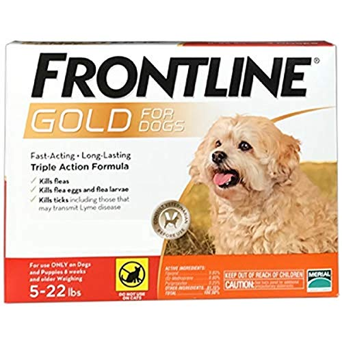 Frontline Gold Flea & Tick Control for Dogs 5 to 22 lbs Orange (6 Month)