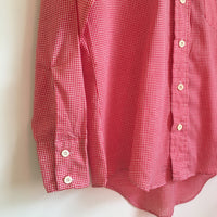 Hey Tiger Vintage 1970s Men's Mr Wrangler Red & White Check Button Down Oxford Shirt // size Medium