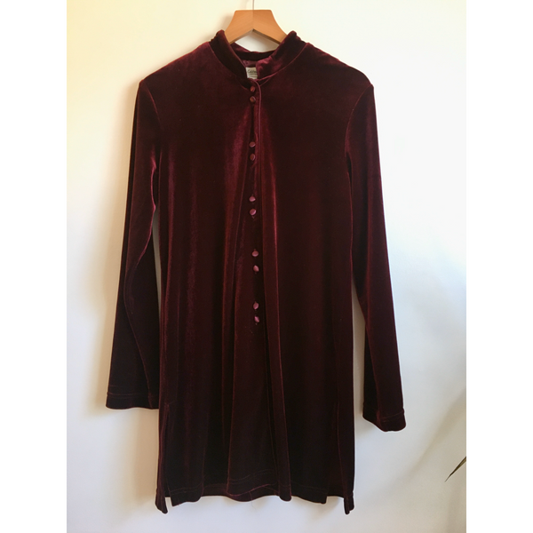 Hey Tiger Vintage 90s Deep Burgundy Jewel Tone Velvet Button Up Tunic Top // Size Small