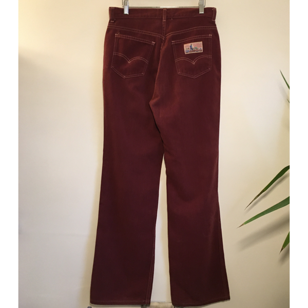Vintage 1970s LEVIS PLOWBOY Brushed Denim Wide Leg Jeans Ultra High Rise Trousers in a Brownish Cranberry // Hey Tiger Louisville Kentucky