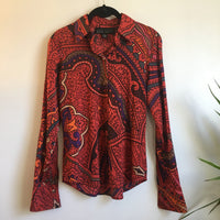 60s 70s inspired long sleeve silk blend psychedelic button up blouse // Size 2