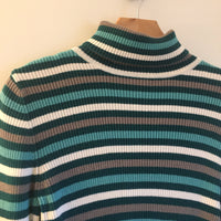 Hey Tiger Louisville Kentucky // Vintage 90s Ribbed Striped Turtleneck Funnel Neck pullover // size Medium