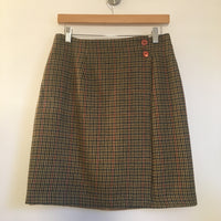 Hey Tiger Vintage wool blend plaid wrap mini skirt // size 8 Medium // Union Made in the USA // retro prep grunge boho minimalist