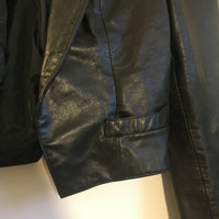 Hey tiger Vintage Split End Ltd 80s cropped Black leather coat blazer jacket // size 9/10 small medium