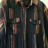 Hey Tiger Vintage Dakota Five Brothers Striped flannel Pearl Snap Western Oxford // unisex XXL // USA Made