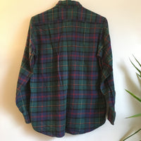Hey Tiger Vintage 90s L.L. BEAN plaid Flannel Oxford // unisex youth Size Large 14-16