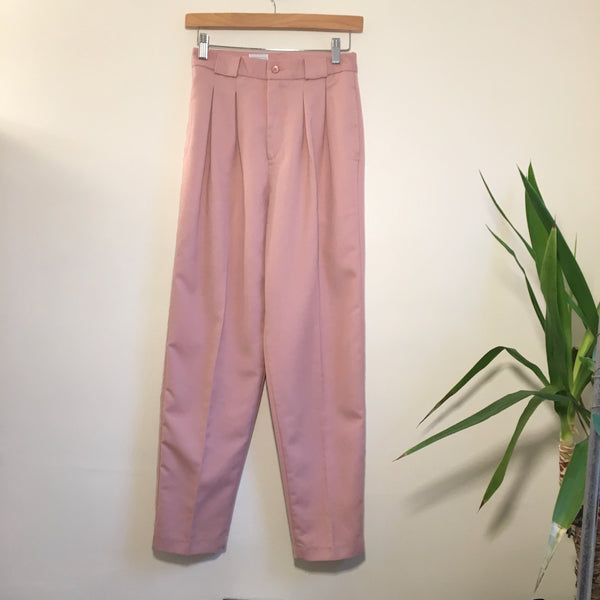 Vintage Dusty Rose Pleated tapered leg Paperbag Trousers // size 6 // high hi rise waisted // Made in the USA // Hey Tiger Louisville Kentucky