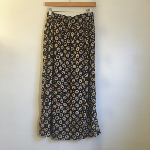 Hey Tiger Vintage 90s high waist floral geometric block print midi skirt // size 8 small medium