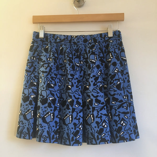 Vintage Electric Blue abstract geometric print pleated mini skirt // size 10 Retro tennis skirt