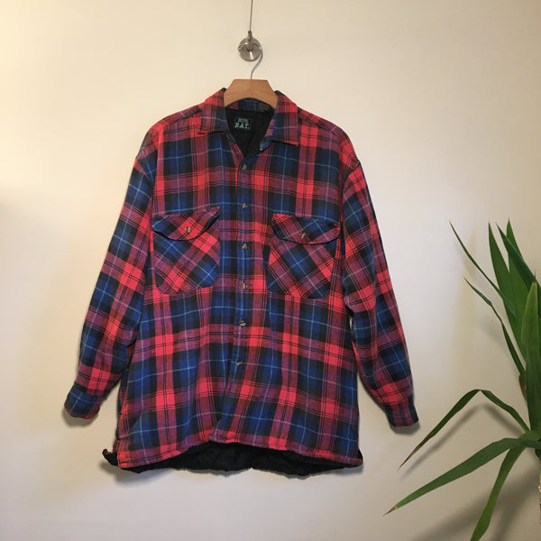 Vintage 80s 90s Outdoor Wear Quilted Lined plaid flannel with Pockets // unisex size Large //  lumberjack cowboy western // hey Tiger Louisville Kentucky