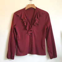Vintage 1960s 70s Retro Raspberry Polyester blouse with Ruffle Trim Collar // size Small Medium // hey tiger Louisville, Kentucky