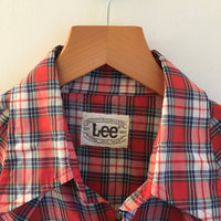Vintage 1970s 80s LEE Plaid Pearl Snap Oxford Shirt // size Medium // Hey Tiger Louisville Kentucky