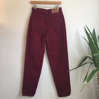 Hey Tiger Vintage MODA INT'L Raspberry Denim tapered leg Mom jeans // size 8 // high hi rise waisted // Made in the USA