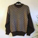 Hey Tiger Vintage 50s 60s Mod Diagonal Striped Check zig zag pullover Cable Knit sweater