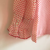 Hey Tiger Vintage 1960s 70s Judy Bond Polka Dot blouse with Lace Trim // size 14 // retro mod spring