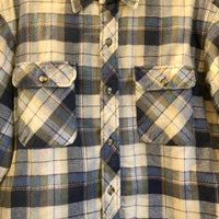 Mens vintage Bud Berma Quilted Lined plaid flannel Oxford button up // unisex size MEDIUM M