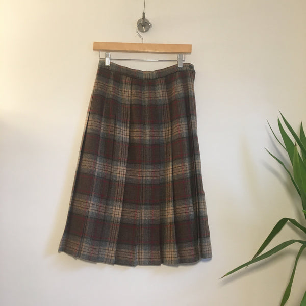 Vintage 70s 80s pleated plaid wool blend skirt // size 11 // Union Made in the USA // Boho hippie retro Hey tiger Louisville, Kentucky
