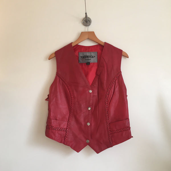 Hey Tiger Vintage Cherry Red leather vest by Unik // Size large // southwestern gypsy rodeo cowgirl desert hippie boho biker festival Woodstock