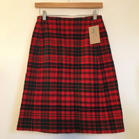 Hey Tiger Vintage Handmade Wool Plaid Knee Length skirt with Pockets // size small // retro preppy mod