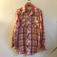 Vintage 1970s 80s Western Fashions Plaid Pearl Snap Oxford Shirt // size Medium // Hey Tiger Louisville Kentucky