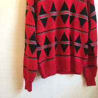 Hey tiger Vintage 90s geometric chunky knit sweater // unisex size large
