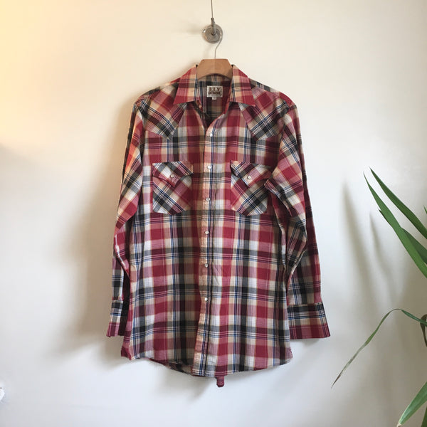 Hey Tiger Louisville Kentucky // Mens vintage Ely Cattleman plaid pearl snap western Oxford // size Medium //  lumberjack cowboy boho hippie indie rocker // unisex