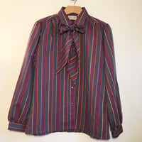 Vintage 70s 80s Career Club Striped Bow Tie Button Up Blouse // size 13/14 // Hey Tiger Louisville Kentucky