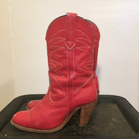 Vintage Frye Cowgirl Boots with Stacked Wooden Heels & Western Stitching // size 9 // Hey Tiger Louisville Kentucky