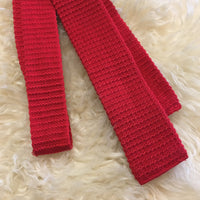 Vintage 1950s 60s Red Knit Square Cut Skinny Necktie // hey Tiger Louisville, Kentucky