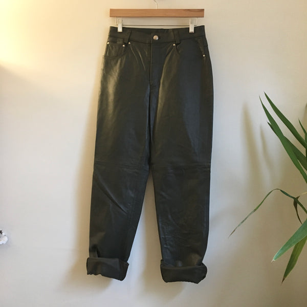 Hey Tiger Louisville Kentucky // Vintage 80s 90s Newport News forest green leather pants // sz 8 // high hi rise waisted