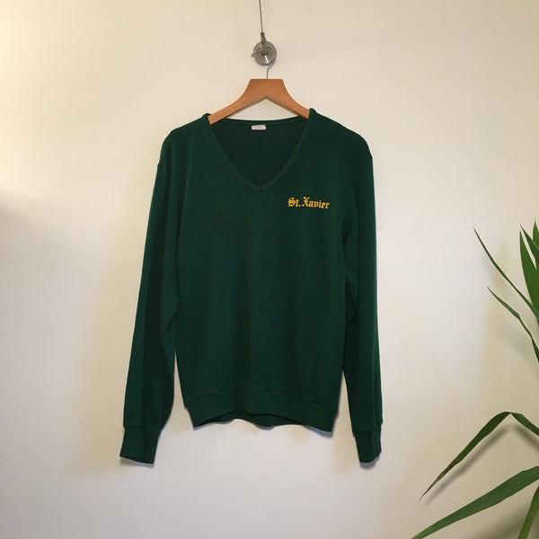 Hey Tiger Louisville Kentucky // Vintage Retro 70s CHAMPION Green & Gold v-neck sweater // size Medium // St Xavier Tigers Louisville Kentucky Athletics