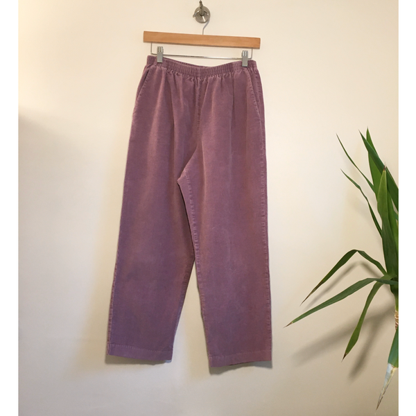 Vintage 80s Lilac corduroy joggers paper bag trousers // slouchy baggy tapered unisex // high hi rise waisted // Hey Tiger Louisville Kentucky
