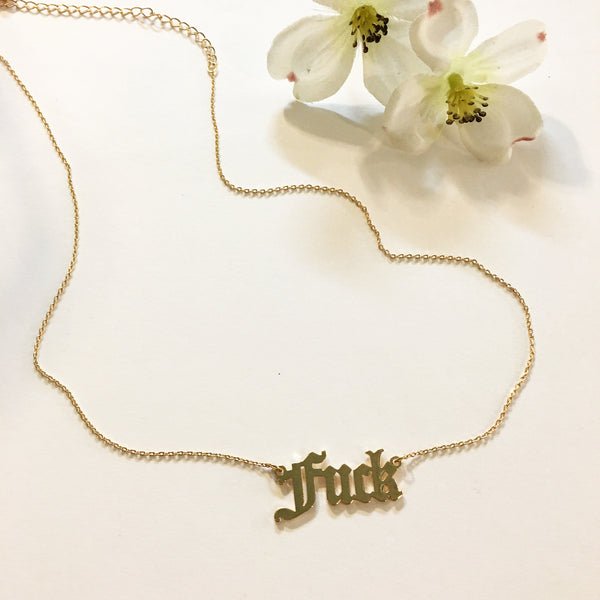 F*ck Four letter word Spell Out Old English script necklace