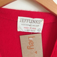 Hey Tiger Vintage JEFFLINKS red sweater knit cardigan // size large // retro grunge prep fall Grandpa mr Rogers golf style // made in usa