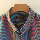Hey Tiger Louisville Kentucky // Vintage 80s 90s Striped Colorblock Button Up by Savile Row // Unisex Size Large