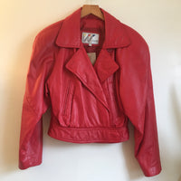 Hey Tiger Vintage 80s Cherry Red cropped leather coat jacket by Wilsons // size 8 small medium