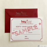 Hey Tiger Letter pressed Gift Certificate // For In-store & Online Purchases
