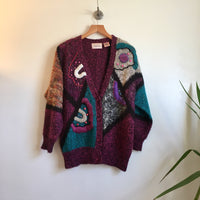 Hey tiger Vintage 80s 90s Abstract Patchwork Colorblock Cardigan with Shoulder Pads // Size Medium