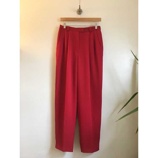 Hey Tiger Vintage Ingenuity Pleated tapered leg Paperbag Trousers // size 8 // high hi rise waisted // Made in the Canada