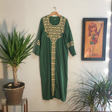 Hey Tiger Louisville Kentucky // Vintage 70s Emerald Green embroidered Traditional Indian maxi dress // Size Medium // mumu kaftan gown // boho hippie festival ethnic Wear