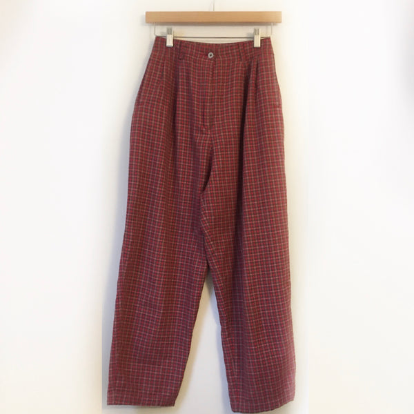 Vintage Red Plaid Pleated tapered leg Paperbag Trousers // SIze XS // Ultra high hi rise waisted // Hey Tiger Louisville Kentucky